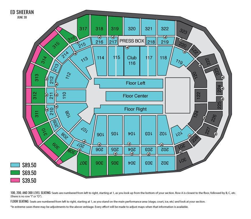 Ed Sheeran Seating Chart